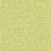 Lewis & Irene - Cocktail Party - 6532 - Glasses, White on Lime Green - A351.2 - Cotton Fabric